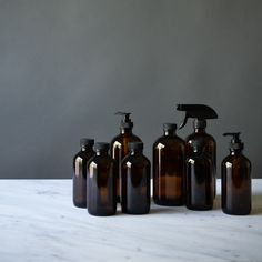 For those who prefer to make their own cleaning products or those who would rather buy in bulk and refill the dispenser. Excellent for shampoo, han. Amber Glass Bottles, Bottles And Jars, Shampoo Dispenser, Shampoo Bottles, Cleaning Supplies, Cleaning Products, Hand Care, Sustainable Living, Home Accents