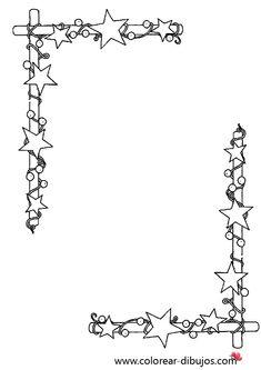 dibujo de bordes de navidad con estrellas para colorear e imprimir