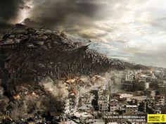 Amnesty Tsunami: Oorlogen razen als een tsunami over de wereld, dood en verderf zaaiend. Amnesty vecht al jaren om dit te veranderen. Een prachtige en pakkende beeldtaal in deze advertentie.