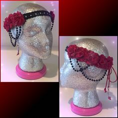 #LUVIT  A sparkly Customizable Rose Flower Crown for a very special Flower Child ✨❤️✨ Featuring Red Roses painted with Sparkling Silver Diamond Dust, a Black / Rhinestone Forehead Strap, Red Tie Bands, Black Pearl Draping on the sides and Custom Letter Beads  Design your Customizable Rose Flower Crown at KittyKatrina.com in our Design a Crown / Headband Section  #flowercrown #ravecostume #raveoutfit #ravewear #festivalfashion #edmfashion #burningman #electriczoo #nocturnalwonderland