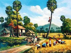 foto lukisan kehidupan desa zaman dahulu - my ely Art Village, Village Scene Drawing, Village Photos, Indian Village, Landscape Drawings, Watercolor Landscape, Landscape Paintings, Village Photography, Nature Photography