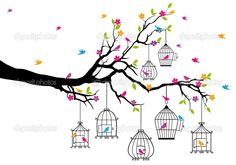 Tree with birds and birdcages, vector - Stock Illustration: 15787657
