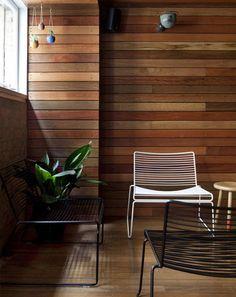 Interior wood siding - Marc Nielsen Workshop - Home Decor Pin Detail Architecture, Interior Architecture, Wood Panel Walls, Wooden Walls, Brick Walls, Interior Walls, Interior And Exterior, Home Office Design, House Design