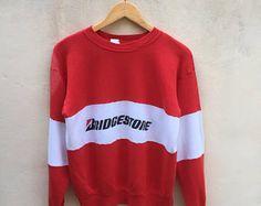 Vintage Motorsport Bridgestone sweatshirt Big Spell Logo Jumper Pullover L Size 90s USA Rare Stripe Colour Red White