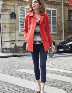 Rose Coat Coats at Boden - So comfy and cute looking - basics with a pop of color. Trench Coats, Prep Style, My Style, Post Baby Fashion, Blazers, Boden Women, Coats For Women, Clothes For Women, Gamine Style