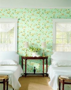 obsessed with this combo of mint wallpaper & bright white bedding for a guest room!