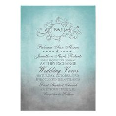 This classy light teal turquoise blue and slate gray colored invitation features a beautiful monogram flourish swirls against an vintage inspired grunge shabby chic background. Elegant text is completely customizable so you can use this for other events such as bridal shower, wedding shower, vow renewal, 50th wedding anniversary, and engagement party invitations. Look in my shop for matching products to go with this stylish stationery set!