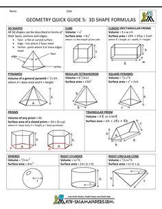 solid geometry formula sheet