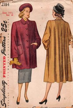 Simplicity 2184 Womens Lined Swing Coat or Jacket Half Size 40s Vintage Sewing Pattern Size 14 1/2 Bust 33 inches UNCUT Factory Folded
