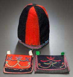 American Indian Art:Beadwork and Quillwork, A NASKAPI BEADED WOOL HAT AND TWO POUCHESc. 19... Image #1 Native American Tribes, Native Americans, American Indians, Labrador, Pow Wow, American Indian Art, Native Art, First Nations, Historical Photos
