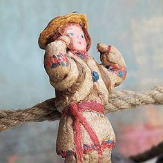 RARE antique spun cotton c 1950 Russian ornament by CoolVintage, Etsy