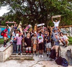 Group photo of the Havana-Cuba crew who came out to a friendly game of skate. Several skaters earned decks gear and swag donated by @skateboardsforhope #skatepark #skateboard #skaterboy #usedskateboards #gameofskate #lifestyle #cuba #havana #zoologico #wild #skatecult #godmotherapproved #yojanyperez #teamwork #givehope #hope (PHOTO TAKEN BY EVA BLUE in December 2016).
