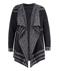 Another great find on #zulily! Black & Gray Stripe Hooded Open Cardigan by Dex #zulilyfinds