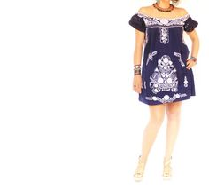 Deep sea Mexican embroidered hippie ethnic dress....LOVE IT!!