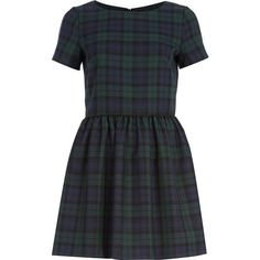 River Island Green tartan skater dress (150 RON) ❤ liked on Polyvore featuring dresses, vestidos, short dresses, robes, zipper dress, short sleeve mini dress, green mini dress and plaid mini dress