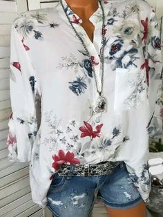 Laamei 2018 Autumn Fashion Chiffon V-neck Women Blouse Long Sleeve Shirts Floral Plus Size Top Casual Sexy Office Lady Blusas Floral Blouse, Printed Blouse, Printed Silk, Cotton Blouses, Shirt Blouses, Chiffon Blouses, Chiffon Tops, White Chiffon, Women's Shirts