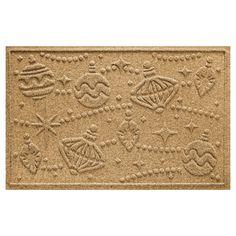 Bungalow Flooring Aqua Shield Ornaments Holiday Floormat -
