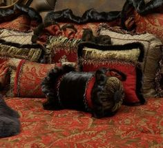 Old World Luxury Bedding of red, chocolate brown chenille, silk and crushed velvet . http://reilly-chanceliving.com/collections/bedding/products/westbury-ii