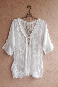 Sheer lace embroidered Bohemian tunic with crochet by BohoAngels, $80.00