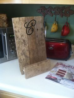 Kitchen+iPad+stand+cook+book+holder+rustic+kitchen+by+PineNsign,+$35.00