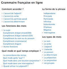 Grammaire française en ligne.  Very helpful link for the kids.