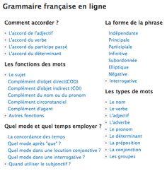 Grammaire française en ligne.