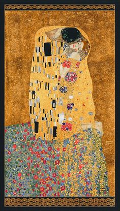 Robert Kaufman Gustav Klimt The Kiss Cotton Gilded Fabric Panel x by PrivateSourceQuiltin on Etsy Gustav Klimt, Art Klimt, Modes4u, Panel Quilts, Used Vinyl, Robert Kaufman, Sewing Studio, Cotton Quilts, Cotton Fabric