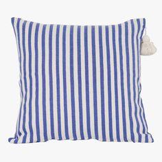 Moroccan Blue Stripe Pillow Cover