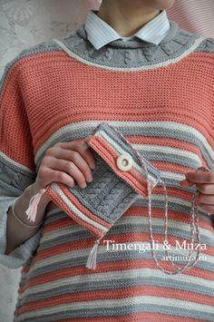 8729904ba Knitted Sleeveless Jumper Loose Cut Pink Gray White Strips Arans Pattern  Hand Knit Handbag Cute Slee