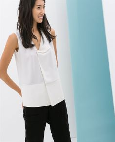 ZARA - NEW THIS WEEK - TOP WITH FAUX LEATHER DETAIL