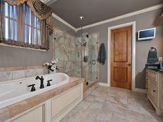 Dark grey and mixed tiles - #interiordesign #bathroom