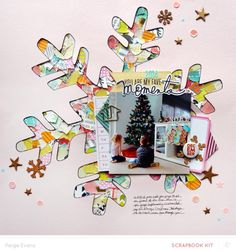 Snowflake scrapbook layout (cut with the Silhouette CAMEO) | Paige Evans