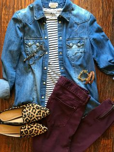 Striped top, denim shirt, burgundy denim and leopard flats. # Casual Outfits with flats gingham shirt SAHMonday: Chambray, Stripes, Burgundy and Leopard - Get Your Pretty On® Other Outfits, Mode Outfits, Casual Outfits, Fashion Outfits, Womens Fashion, Outfit Pantalon Vino, Fall Winter Outfits, Autumn Winter Fashion, Mens Winter