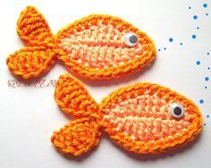Free Crochet Applique Patterns – Catalog of Patterns Crochet Mignon, Crochet Fish, Love Crochet, Crochet Animals, Diy Crochet, Crochet Crafts, Yarn Crafts, Crochet Flowers, Crochet Projects
