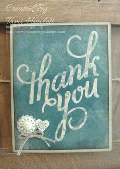 Another Thank You stamp set using emboss resist and a brayer.