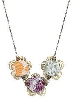 New Vivi Dot styles on @modcloth today! Fruit Blossoms Necklace - Multi, Solid, Buttons, Chain, Lace, Vintage Inspired