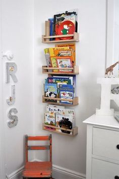 IKEA spice racks as book shelves Ikea Spice Racks As Book Shelves, Bookshelves Kids, Ikea Kids, Vintage Room, Room Planning, Apartment Living, My Room, Bedroom Decor, Interior