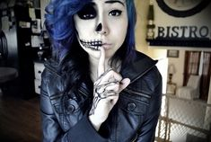 Skull make up and fabulous hair! I need more clients that will let me do these wonderful colors on them!! :)