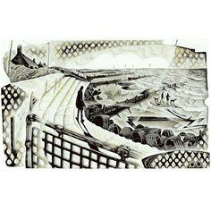 Neil Bousfield 'Seaside Steps' wood engraving 195x120 mm