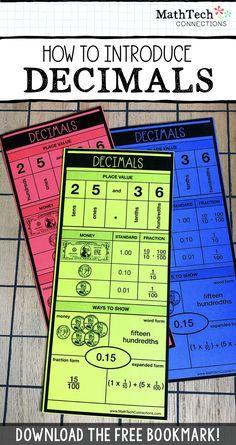 How to Introduce Decimals - Mathe Ideen 2020 Teaching Decimals, Comparing Decimals, Math Fractions, Dividing Fractions, Equivalent Fractions, Adding Decimals, Rounding, Multiplication, Teaching Math