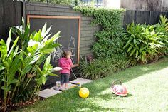 Need some low maintenance garden design ideas? Learn the fundamentals and tips to creating the perfect low mainteance outdoor space in our feature article. Fun Outdoor Games, Outdoor Play, Fun Games, Backyard For Kids, Diy For Kids, Back Gardens, Outdoor Gardens, Outdoor Chalkboard, Kids Chalkboard