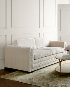Bently White Tufted Sofa by Haute House at Neiman Marcus.