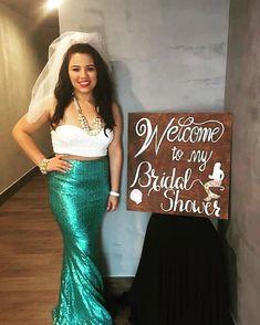 Wear For A Bridal Party mermaid bridal shower outfit. Mermaid Bridal Showers, Bridal Shower Signs, Mermaid Wedding, Bridal Shower Outfits, Mermaid Mermaid, Mermaid Outfit, Windsor, Veil, Bride