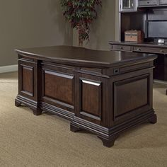Make a strong style statement in your work area with this elegantly styled Drake executive desk. This desk provides ample work space with a curved design that encourages correct sitting and posture. Furniture, Bush Furniture, Beautiful Furniture, Brown Furniture, Office Furniture Desk, Executive Desk, Luxury Furniture, Furniture Design, Desk