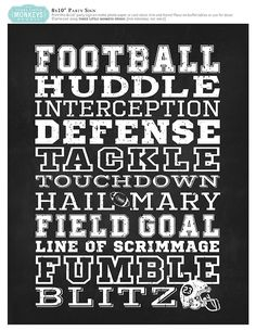 Chalk Board Football Subway Art Printable from Three Little Monkey's Studio