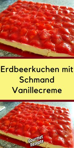 Erdbeerkuchen mit Schmand Vanillecreme Strawberry cake with sour cream vanilla cream No Bake Granola Bars, Sour Cream Cake, Low Carbohydrate Diet, Fodmap Recipes, Vanilla Cream, Vanilla Cake, Easy Cake Recipes, Macaron, Food Cakes