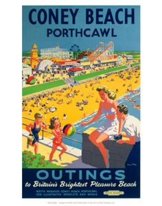 Vintage Travel Poster - Wales - Coney Beach, Porthcawl