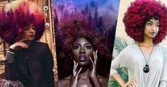 Pierre Jean-Louis cria retratos de mulheres negras e seus cabelos transformados em galáxias e flores.