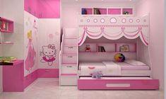 울산•부산인테리어 티디컴퍼니/ 헬로키티 캐릭터로 사랑스럽게 아이방꾸미기 * Hello Kitty Bedroom Decoration : 네이버 블로그 Little Girl Bedrooms, Pink Bedroom For Girls, Kids Bedroom Sets, Baby Bedroom, Bedroom Decor, Kids Bedroom Designs, Bunk Bed Designs, Home Room Design, Kids Room Design