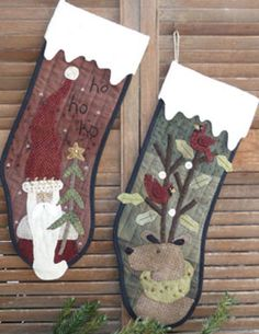 Primitive Wool Applique Stocking PATTERN - Santy and Rudi - HTH362